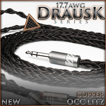 (new) Drausk Series - 17.7awg (per polarity) - Copper occ litz - 16-wire - TPU - enlarged cotton cores - premium headphone cable