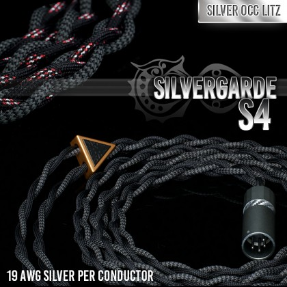 Silvergarde S4 - 4-wire (4 x 19awg) - Pure silver occ litz - cotton multicore 11-core - infused polymer center core - multi-layer (cotton + teflon) - pure textile headphone cable