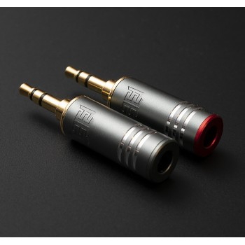 (new) Eidolic 3.5mm TRS gold - dual - gunmetal spacious with red+gunmetal thread-able end caps - (sold as a pair)