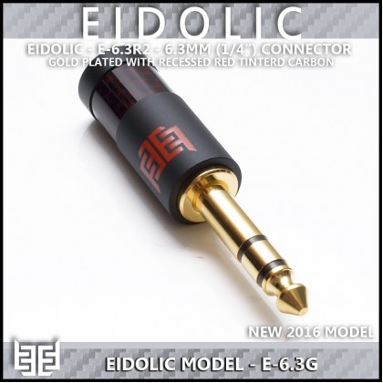 "*Eidolic 1/4"" connector (6.3mm, gold plated, black aluminum barrel with red carbon fiber)"