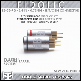 Eidolic - E2-78-PG - Premier 2-pin (.78mm) CIEM / IEM connector (pair) - Tellurium Copper Pins - PEEK insulator - Internal Locking System barrel