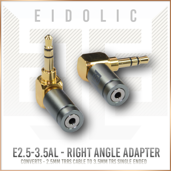 "(ADAPTER) - Eidolic E2.5-3.5AL - 2.5mm TRRS female - to - 3.5mm TRS right angle ""L"" shape adapter (factory assembled)"