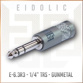 "Eidolic E-6.3R3  - 6.3mm (1/4"") Rhodium plated TRS headphone connector (Gunmetal, Silver Carbon Barrel)"