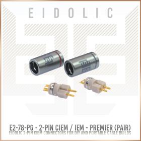 Eidolic - E2-78-PG - Premier 2-pin (.78mm) CIEM / IEM connector (pair) - Tellurium Copper Pins - PEEK insulator - Internal Locking System barrel