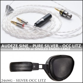 NEW - (refined) Pure Silver OCC Litz - Audeze SINE replacement cable - 24awg per wire (cotton core, variance stranding) - Single Ended or Balanced