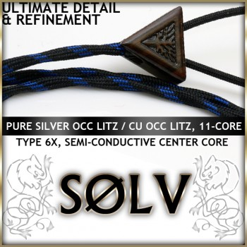 Solv X Series  - Silver OCC Litz / Cu OCC Litz - Multi-Core (11-core, Industry First), 22awg per channel, semi-conductive infused polymer center core, dual-level tube ultra dampened, Type 6X