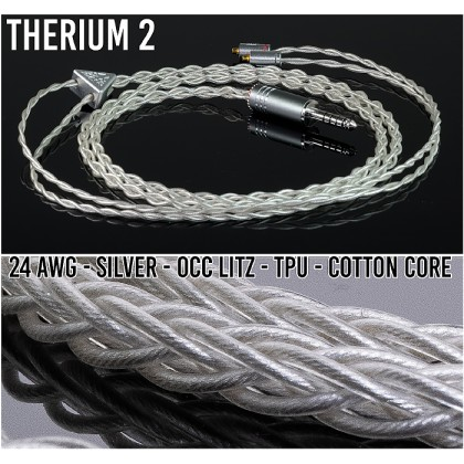 (NEW) - Therium 2 -  4-wire (24awg) silver occ litz - TPU - clear - cotton core -  iem/ciem replacement cable