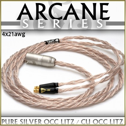 Arcane Series Adapter - 4x21awg, (2 x 21awg - pure silver occ litz & 2 x 21 awg cu occ litz) with perfect strand mixing and 3 x semi-conductive infused cores per 21awg tri-conductor)