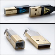 Custom gold plated USB plugs for DIY (pair of  type A / type B)