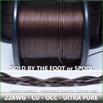 (DIY)  - 22awg - OCC Copper (Cu) - Transparent Black jacket - highest purity cu - true cotton center core