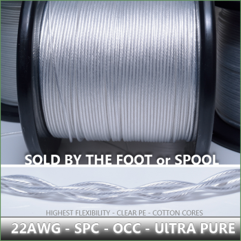 (DIY)  - 22awg - Highest Purity - OCC SPC (Silver plated Copper) - Clear Dielectric - with 100% pure cotton center cores