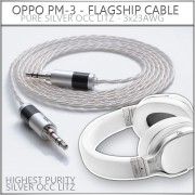 NEW - OPPO PM-3 - Pure Silver OCC Litz - 23awg per wire (cotton core, variance stranding) - Single Ended or Balanced - ultimate replacement cable