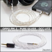 NEW - (refined) Pure Silver OCC Litz - OPPO PM-3 replacement cable - 24awg per wire (cotton core, variance stranding) - Single Ended or Balanced - ultimate PM-3 replacement cable
